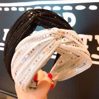 Women's Sequin Knot Headband Hairband Cross Wide Tie Hair Hoop Band  Accessories