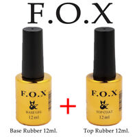 F.O.X (Fox) SET 2in1 Base Rubber 12ml + Top Rubber 12ml Original Gel Nail Polish