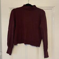 Topshop Burgundy Jumper Sweater High Neck Balloon Sleeve Size 10