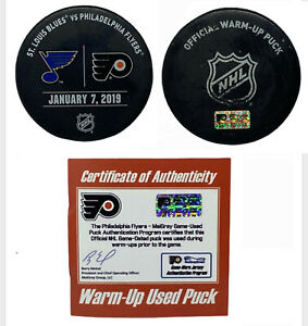 Jordan Binnington 1st Win & Shutout Game Used Warm-Up Puck St Louis Blues 1/7/19