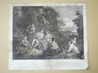 J-B PATER (1695-1736) GRANDE GRAVURE XVIII° LE BAIN SCENE GALANTE FEMME NUE MODE