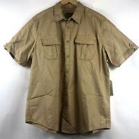 St Johns Bay Mens Short Sleeve Utility Shirt 2 Pocket Fitzgerald Tan Sz XL NEW