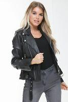 Genuine Leather Womens Black Motorcycle Classic Biker Ladies Brando Jacket