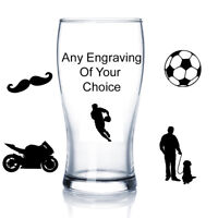 Personalised Engraved Beer Glass Birthday Gift Anniversary Wedding