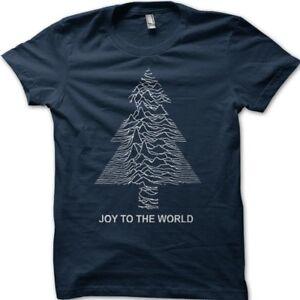 Joy to the world Christmas tree gift pulsar division printed t-shirt 9194