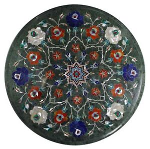 """12"""" green marble inlay work table top marquetry art handmade work"""