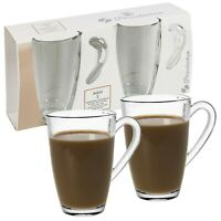 2 4 6 Large 325ml Coffee Tea Glass Cups Hot Drink Mugs with Handle Hot Chocolate