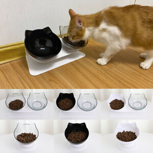 Double Cat Bowl with Raised Stand 15°Tilted Cat Feeder Food and Water Bowls
