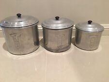 1940's Set 3 REX ALUMINIUM Co. RACO DELUXE  Aluminium Canisters with bakelite