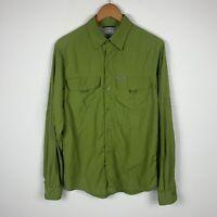 Columbia Mens Button Up Shirt Size Medium Green Long Sleeve Vented Fishing Shirt