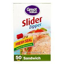 Great Value Slider Zipper Sandwich Sized Bags, 50 Ct