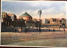 Estate Sale - Vintage 1940s Piazza Piebisito Napoli Colored  Postcard Unposted