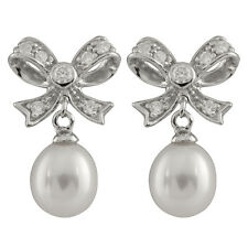 Fancy sterling silver rhodium plated bowtie shaped earrings 8-8½mm Pearl ESR-168