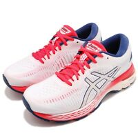 Asics Gel-Kayano 25 White Pink Blue Womens Running Shoes Trainers 1012A02-6100
