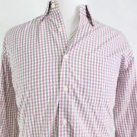 PETER MILLAR LONG SLEEVE GINGHAM CHECK BUTTON DOWN COTTON SHIRT MENS SIZE L