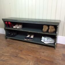 "Shoe Storage Bench Seat Rack 48"" LONG In Vintage Grey"