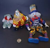 VTG Antique Porcelain Clowns Mimes Sitting Posable figurine Circus Carnival