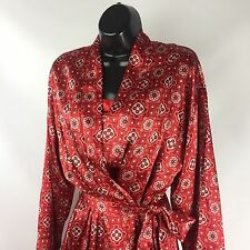 Womens Cruz Red Robe Tie Wrap Front Sz M Intimates Long Sleeve Silky Mid Length