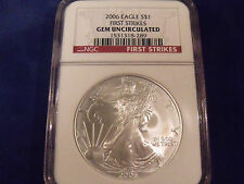 2006 NGC GRADED SILVER EAGLE GEM UNCIRCULATED FIRST STRIKE