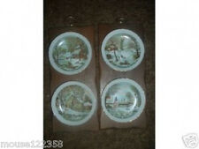 Enesco Currier   Ives plates 4 plates  2 wooden plaque