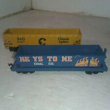 2 - HO Scale B&O #4127 & Keystone Coal Hopper Cars - 1 Belly Dump. 1 Side Dump