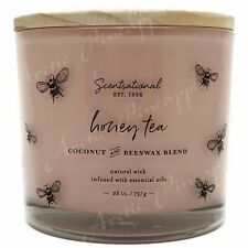 Scentsational 26oz Coconut Beewax Blend 100% Cotton 3 Wick Candle Honey Tea