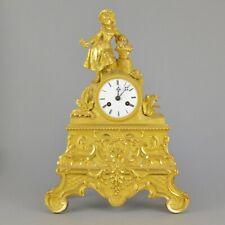 Pendule en bronze doré fille au panier de fleurs 19ème kaminuhr