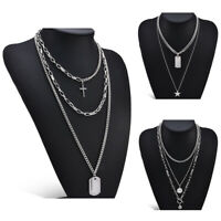Fashion Women Boho Multi-Layer Choker Pendant Stainless Chain Necklace Jewellery