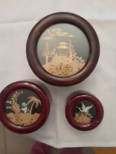 ROUND WOODEN NESTING BOXES W/ HAND CARVED CHINESE DESIGN * SET OF 3 *RED LINING