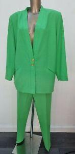Women's JACQUES VERT Designer Green Trousers Blazer Jacket Wool Summer Suit 16