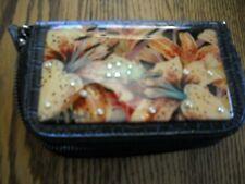 Debbie Brooks Wristlet Lily Pattern With Swarovski Crystals Organizer Wallet