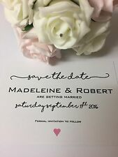 Wedding Save the Date Cards Personalised - x 50 with Envelopes Script A6