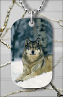WOLF PACK LEADER IN WINTER DOG TAG NECKLACE PENDANT FREE CHAIN -dbf5Z