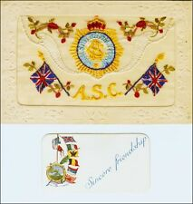 Novelty: Embroidered Silk World War 1 Flags, ASC Service Corps. Pocket. Pre-20.