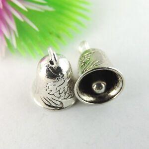 20Stück Antiqued Silber Ton Legierung Nette Bell-Form-Anhänger-Charme 39043