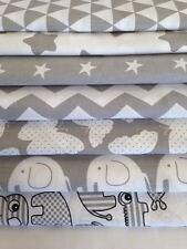 NEW GREY & WHITE 100% COTTON FABRIC by the metre CHEVRON polka dot , elephant