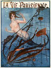 1920's La Vie Parisienne Nouveau Mermaid Blue France Travel Advertisement Poster