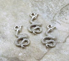 Set of Three (3) Pewter Coiled Snake Charms - 5257