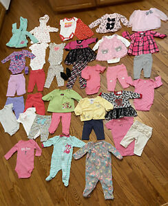 38 Pieces Baby Girls Lot Winter Clothes 0-3m Months Carter's Outfits Tops Pants