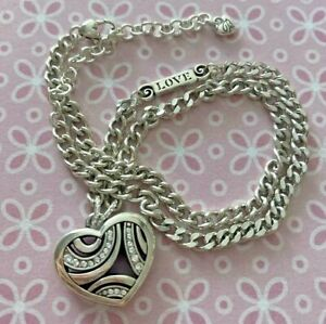"""Brighton TRUSTING HEART Crystals Swirls Silver Chain Necklace 16-18"""" NWT Card"""
