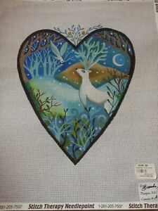 February Moon Heart Deer Needlepoint Tapestry Canvas unworked no threads