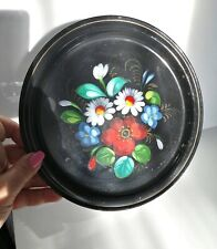 """VINTAGE USSR HAND PAINTED BLACK FLORAL ZHOSTOVO METAL SERVING TRAY 8 1/2"""" DIA"""