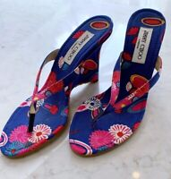 JIMMY CHOO Royal Blue Pink Flower High Heels Sandal Shoes Size UK 4 EU 37