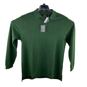 NWT JOS A BANK Men's LS Travelers Collection Sz Lg Green Golf Polo Shirt $89.50