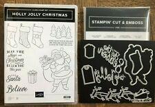Stampin Up HOLLY JOLLY CHRISTMAS Stamps & SEASON Dies ~ Santa Sleigh Stockings