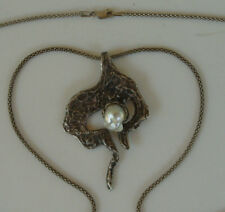 Abstract Mid Century Sterling Silver Baroque Salt Water Pearl Pendant Necklace