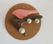 Brooch Pink Bird on a branch ,Wood ,Simple Organic style  ,HOPSCOTCH , FREE POST