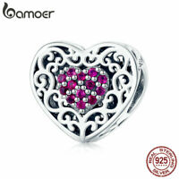 BAMOER Genuine S925 Sterling silver Charm European Love & CZ For Women Jewelry