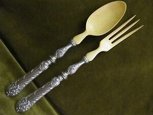 antique french sterling silver (handles) salad serving set rococo st