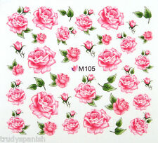 Nail Art Stickers Nail Water Decals Nail Transfers Pink Flowers Floral Roses 105